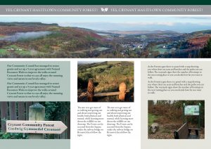 """Image is of a leaflet inside spread. At top as a banner the words """"Yes, Crynant has its own Community Forest!"""" above a panorama view of the village nestled between the mountains. Three columns of text describe the Community Forest Project with three separate photos. First, a signpost showing the way to the forest, then a picture taken of a bench with woodcarvings and third a photo of an information panel, bench and a badger carving."""